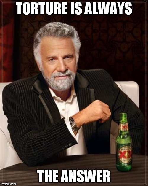 The Most Interesting Man In The World Meme | TORTURE IS ALWAYS THE ANSWER | image tagged in memes,the most interesting man in the world | made w/ Imgflip meme maker