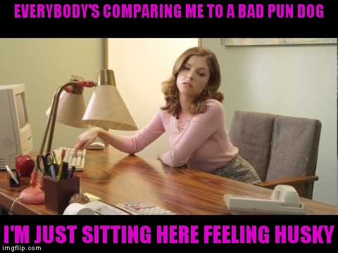 Poor Anna | EVERYBODY'S COMPARING ME TO A BAD PUN DOG I'M JUST SITTING HERE FEELING HUSKY | image tagged in anna kendrick | made w/ Imgflip meme maker