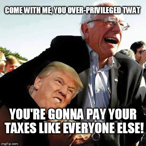 SandersTrump | COME WITH ME, YOU OVER-PRIVILEGED TWAT YOU'RE GONNA PAY YOUR TAXES LIKE EVERYONE ELSE! | image tagged in bernie sanders | made w/ Imgflip meme maker