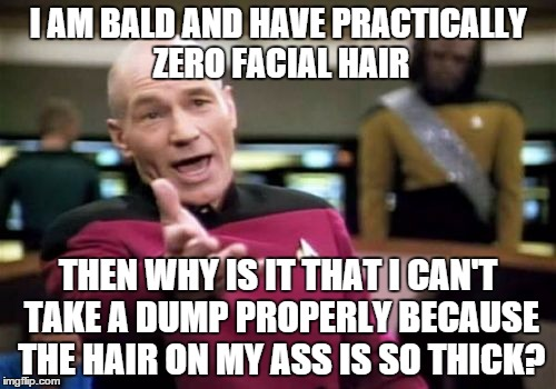 Why nature? | I AM BALD AND HAVE PRACTICALLY ZERO FACIAL HAIR THEN WHY IS IT THAT I CAN'T TAKE A DUMP PROPERLY BECAUSE THE HAIR ON MY ASS IS SO THICK? | image tagged in memes,picard wtf,hair,ass,bald | made w/ Imgflip meme maker