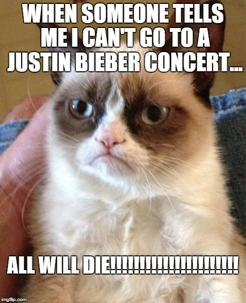 All Will Die!!!!!!!!!!!!!!!!!!!!!!!!!!! | WHEN SOMEONE TELLS ME I CAN'T GO TO A JUSTIN BIEBER CONCERT... ALL WILL DIE!!!!!!!!!!!!!!!!!!!!!! | image tagged in grumpy cat,jb,justin bieber,i'll just wait here guy | made w/ Imgflip meme maker