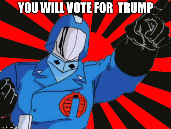vote for trump | YOU WILL VOTE FOR  TRUMP | image tagged in cobra commander,vote for trump | made w/ Imgflip meme maker