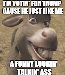 I Don't Care Who You Vote For, That's Funny | I'M VOTIN' FOR TRUMP CAUSE HE JUST LIKE ME A FUNNY LOOKIN' TALKIN' ASS | image tagged in memes,donkey,donald trump | made w/ Imgflip meme maker