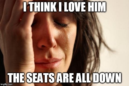 First World Problems Meme | I THINK I LOVE HIM THE SEATS ARE ALL DOWN | image tagged in memes,first world problems | made w/ Imgflip meme maker