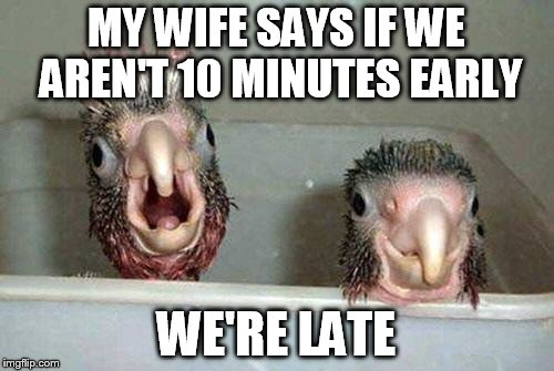 MY WIFE SAYS IF WE AREN'T 10 MINUTES EARLY WE'RE LATE | made w/ Imgflip meme maker