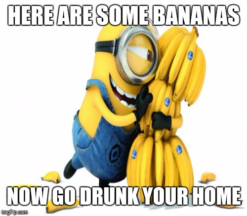 HERE ARE SOME BANANAS NOW GO DRUNK YOUR HOME | made w/ Imgflip meme maker