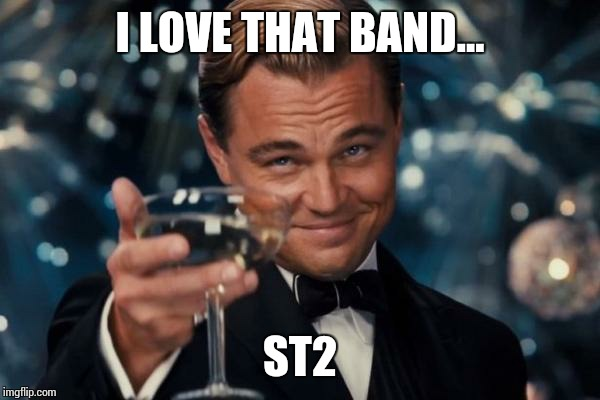 Leonardo Dicaprio Cheers Meme | I LOVE THAT BAND... ST2 | image tagged in memes,leonardo dicaprio cheers | made w/ Imgflip meme maker