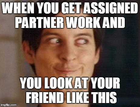 Spiderman Peter Parker Meme | WHEN YOU GET ASSIGNED PARTNER WORK AND YOU LOOK AT YOUR FRIEND LIKE THIS | image tagged in memes,spiderman peter parker | made w/ Imgflip meme maker