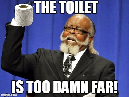 #TooDamnToilet | THE TOILET IS TOO DAMN FAR! | image tagged in memes,too damn high | made w/ Imgflip meme maker