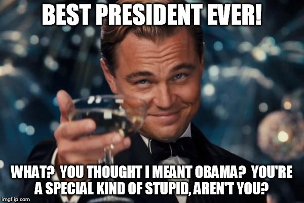 Leonardo Dicaprio Cheers Meme | BEST PRESIDENT EVER! WHAT?  YOU THOUGHT I MEANT OBAMA?  YOU'RE A SPECIAL KIND OF STUPID, AREN'T YOU? | image tagged in memes,leonardo dicaprio cheers | made w/ Imgflip meme maker