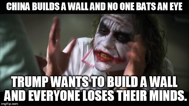 The great wall of Murica |  CHINA BUILDS A WALL AND NO ONE BATS AN EYE; TRUMP WANTS TO BUILD A WALL AND EVERYONE LOSES THEIR MINDS. | image tagged in memes,and everybody loses their minds,trump,china,funny | made w/ Imgflip meme maker