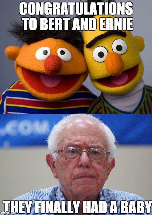 Awe.....It'n He Cute, tryin' to run for prez like a big boy | CONGRATULATIONS TO BERT AND ERNIE THEY FINALLY HAD A BABY | image tagged in memes,bernie sanders,bert and ernie | made w/ Imgflip meme maker