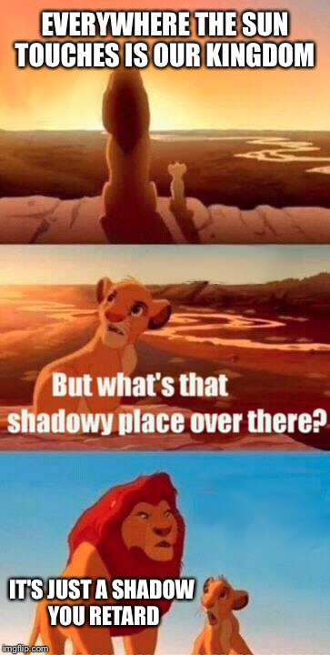 Simba Shadowy Place Meme | EVERYWHERE THE SUN TOUCHES IS OUR KINGDOM IT'S JUST A SHADOW YOU RETARD | image tagged in memes,simba shadowy place | made w/ Imgflip meme maker