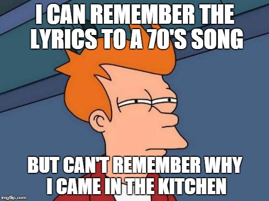 Futurama Fry Meme | I CAN REMEMBER THE LYRICS TO A 70'S SONG BUT CAN'T REMEMBER WHY I CAME IN THE KITCHEN | image tagged in memes,futurama fry | made w/ Imgflip meme maker