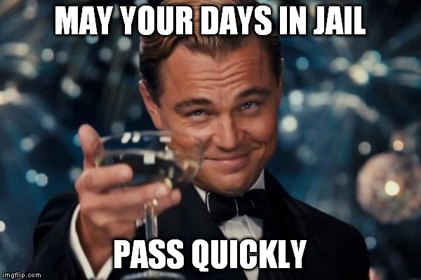 Leonardo Dicaprio Cheers Meme | MAY YOUR DAYS IN JAIL PASS QUICKLY | image tagged in memes,leonardo dicaprio cheers | made w/ Imgflip meme maker