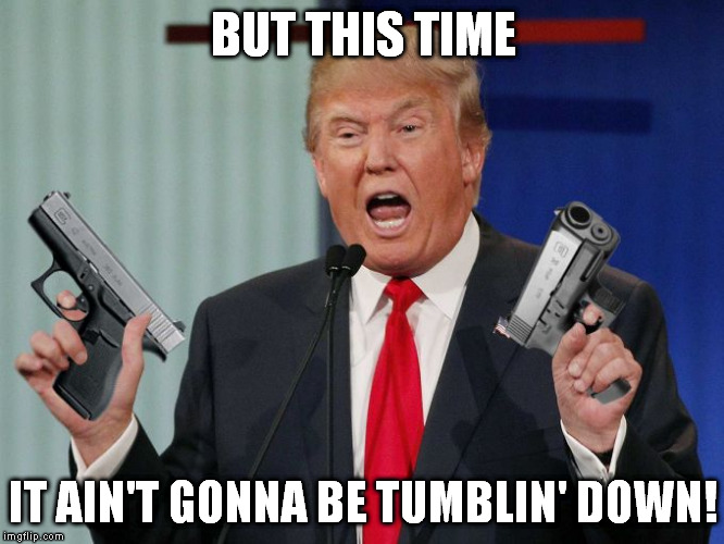 Gun Trump | BUT THIS TIME IT AIN'T GONNA BE TUMBLIN' DOWN! | image tagged in gun trump | made w/ Imgflip meme maker