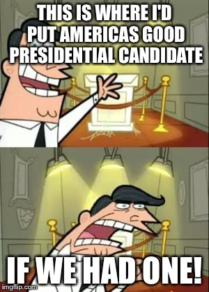 Some people may disagree... |  THIS IS WHERE I'D PUT AMERICAS GOOD PRESIDENTIAL CANDIDATE; IF WE HAD ONE! | image tagged in memes,this is where i'd put my trophy if i had one,presidential candidates,donald trump,hillary clinton | made w/ Imgflip meme maker