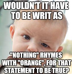 "Skeptical Baby Meme | WOULDN'T IT HAVE TO BE WRIT AS ""NOTHING"" RHYMES WITH ""ORANGE"", FOR THAT STATEMENT TO BE TRUE? 