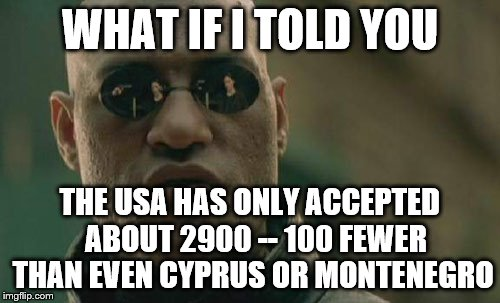 Matrix Morpheus Meme | WHAT IF I TOLD YOU THE USA HAS ONLY ACCEPTED  ABOUT 2900 -- 100 FEWER THAN EVEN CYPRUS OR MONTENEGRO | image tagged in memes,matrix morpheus | made w/ Imgflip meme maker