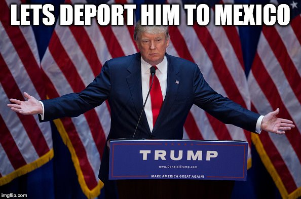 Trump Bruh | LETS DEPORT HIM TO MEXICO | image tagged in trump bruh | made w/ Imgflip meme maker