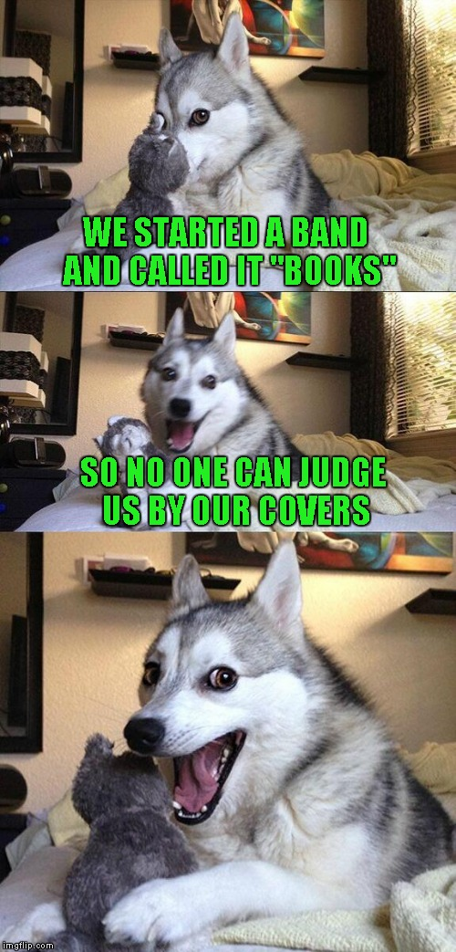 "Bad Pun Dog Meme | WE STARTED A BAND AND CALLED IT ""BOOKS"" SO NO ONE CAN JUDGE US BY OUR COVERS 