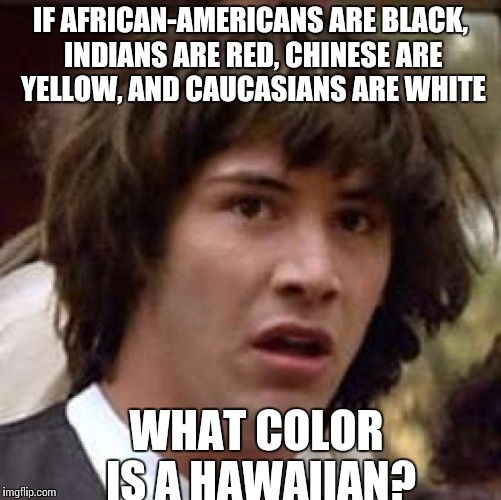 Conspiracy Keanu Meme | IF AFRICAN-AMERICANS ARE BLACK, INDIANS ARE RED, CHINESE ARE YELLOW, AND CAUCASIANS ARE WHITE WHAT COLOR IS A HAWAIIAN? | image tagged in memes,conspiracy keanu | made w/ Imgflip meme maker
