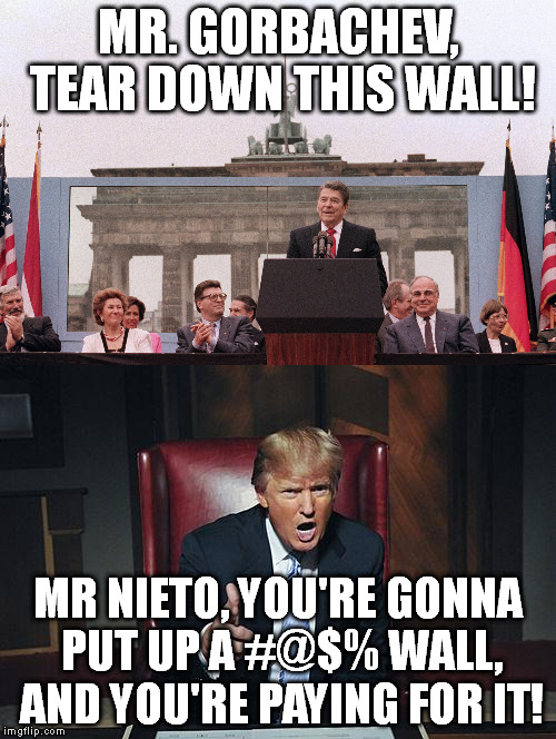 Countries' walls: then and now. (Nieto is the president of ...