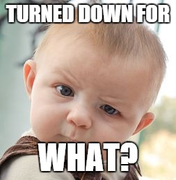 Skeptical Baby Meme | TURNED DOWN FOR WHAT? | image tagged in memes,skeptical baby | made w/ Imgflip meme maker