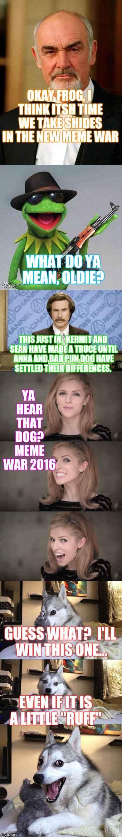 "Meme war 2016!  |  OKAY FROG, I THINK ITSH TIME WE TAKE SHIDES IN THE NEW MEME WAR; WHAT DO YA MEAN, OLDIE? YA HEAR THAT DOG? MEME WAR 2016; THIS JUST IN,  KERMIT AND SEAN HAVE MADE A TRUCE UNTIL ANNA AND BAD PUN DOG HAVE SETTLED THEIR DIFFERENCES. GUESS WHAT?  I'LL WIN THIS ONE... EVEN IF IT IS A LITTLE ""RUFF"" 