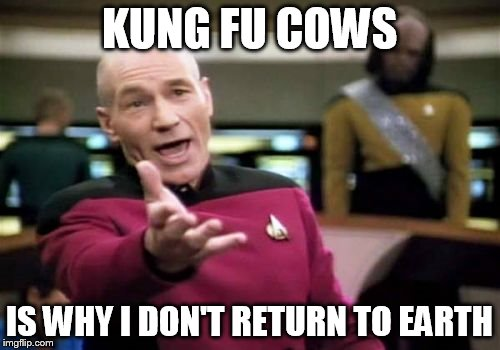 Picard Wtf Meme | KUNG FU COWS IS WHY I DON'T RETURN TO EARTH | image tagged in memes,picard wtf | made w/ Imgflip meme maker