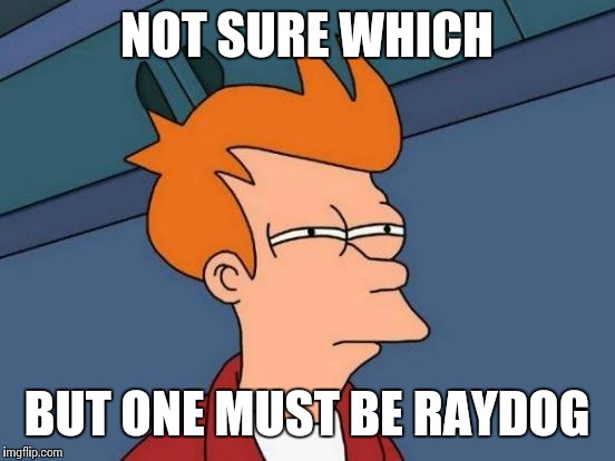 Futurama Fry Meme | NOT SURE WHICH BUT ONE MUST BE RAYDOG | image tagged in memes,futurama fry | made w/ Imgflip meme maker