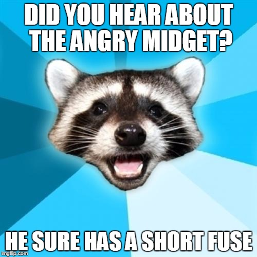 Lame Pun Coon Meme |  DID YOU HEAR ABOUT THE ANGRY MIDGET? HE SURE HAS A SHORT FUSE | image tagged in memes,lame pun coon | made w/ Imgflip meme maker