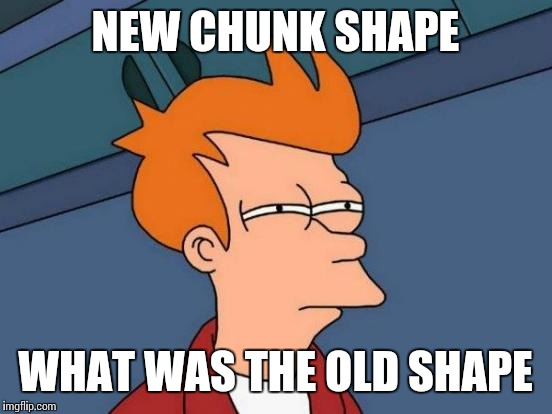 Futurama Fry Meme | NEW CHUNK SHAPE WHAT WAS THE OLD SHAPE | image tagged in memes,futurama fry | made w/ Imgflip meme maker