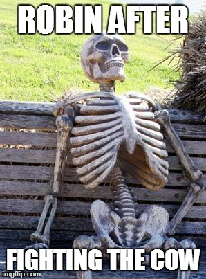 Waiting Skeleton Meme | ROBIN AFTER FIGHTING THE COW | image tagged in memes,waiting skeleton | made w/ Imgflip meme maker