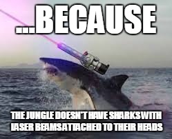 ...BECAUSE THE JUNGLE DOESN'T HAVE SHARKS WITH LASER BEAMS ATTACHED TO THEIR HEADS | made w/ Imgflip meme maker