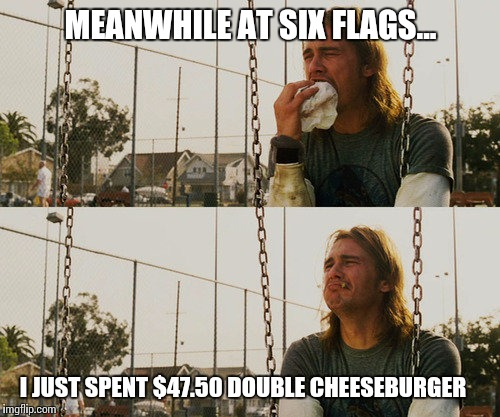 MEANWHILE AT SIX FLAGS... I JUST SPENT $47.50 DOUBLE CHEESEBURGER | made w/ Imgflip meme maker