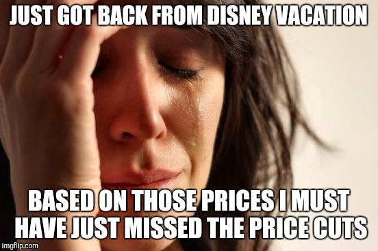 First World Problems Meme | JUST GOT BACK FROM DISNEY VACATION BASED ON THOSE PRICES I MUST HAVE JUST MISSED THE PRICE CUTS | image tagged in memes,first world problems | made w/ Imgflip meme maker