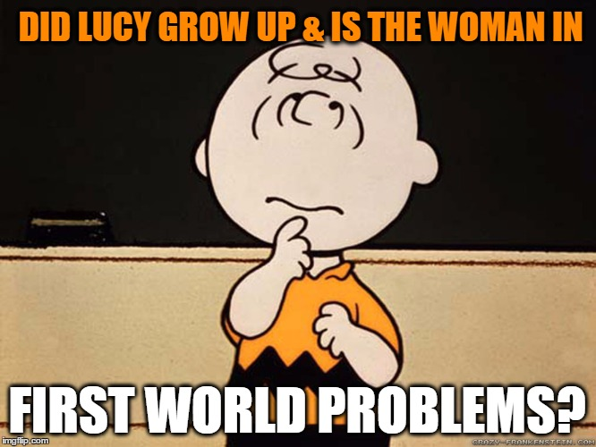 Charlie Brown | DID LUCY GROW UP & IS THE WOMAN IN FIRST WORLD PROBLEMS? | image tagged in charlie brown | made w/ Imgflip meme maker