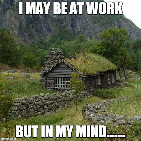 cabin | I MAY BE AT WORK BUT IN MY MIND....... | image tagged in cabin | made w/ Imgflip meme maker