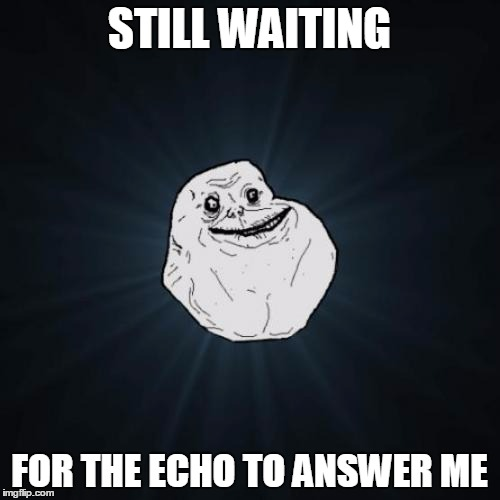 STILL WAITING FOR THE ECHO TO ANSWER ME | made w/ Imgflip meme maker