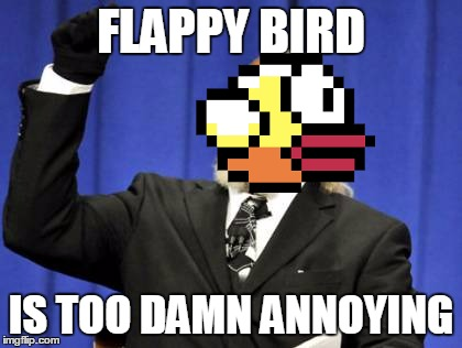 #TooDamnFlappy | FLAPPY BIRD IS TOO DAMN ANNOYING | image tagged in memes,too damn high,flappy bird | made w/ Imgflip meme maker
