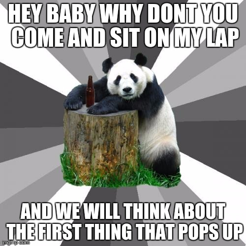 Pickup Line Panda |  HEY BABY WHY DONT YOU COME AND SIT ON MY LAP; AND WE WILL THINK ABOUT THE FIRST THING THAT POPS UP | image tagged in memes,pickup line panda | made w/ Imgflip meme maker