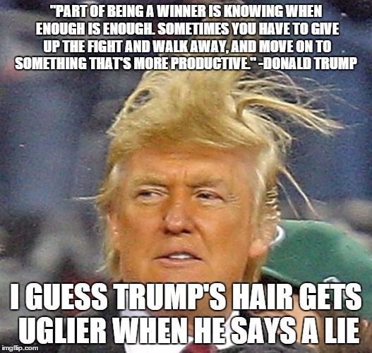 "Donald Trump Hair |  ""PART OF BEING A WINNER IS KNOWING WHEN ENOUGH IS ENOUGH. SOMETIMES YOU HAVE TO GIVE UP THE FIGHT AND WALK AWAY, AND MOVE ON TO SOMETHING THAT'S MORE PRODUCTIVE."" -DONALD TRUMP; I GUESS TRUMP'S HAIR GETS UGLIER WHEN HE SAYS A LIE 
