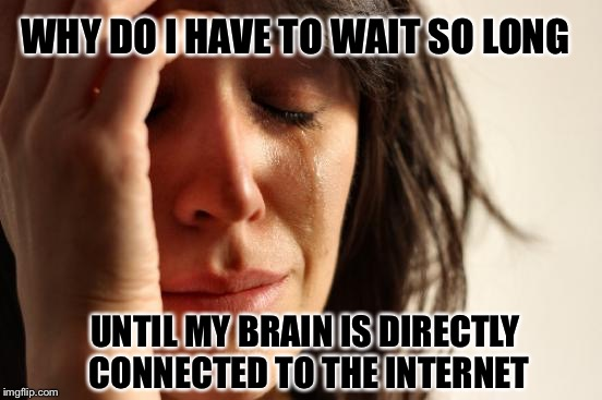 First World Problems Meme | WHY DO I HAVE TO WAIT SO LONG UNTIL MY BRAIN IS DIRECTLY CONNECTED TO THE INTERNET | image tagged in memes,first world problems | made w/ Imgflip meme maker