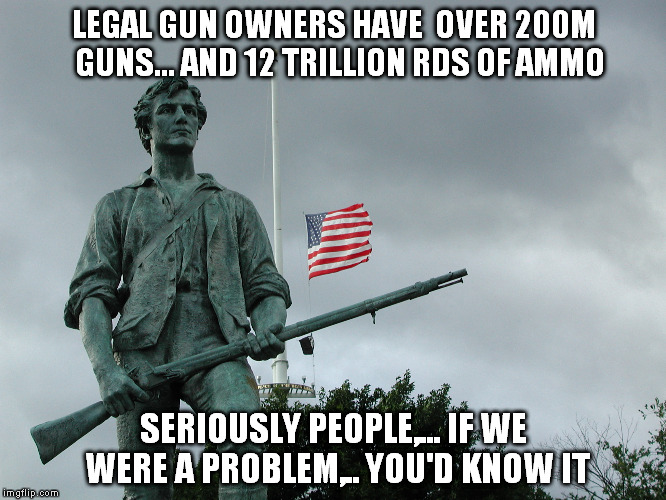 Think about it | LEGAL GUN OWNERS HAVE  OVER 200M  GUNS... AND 12 TRILLION RDS OF AMMO SERIOUSLY PEOPLE,... IF WE WERE A PROBLEM,.. YOU'D KNOW IT | image tagged in patriotism | made w/ Imgflip meme maker