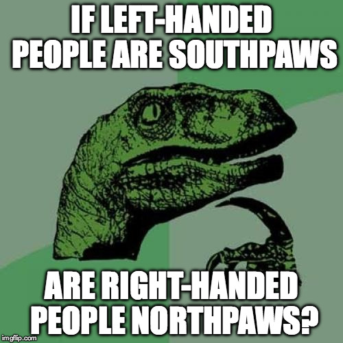 Philosoraptor | IF LEFT-HANDED PEOPLE ARE SOUTHPAWS ARE RIGHT-HANDED PEOPLE NORTHPAWS? | image tagged in memes,philosoraptor | made w/ Imgflip meme maker