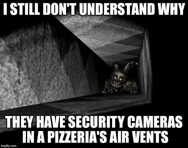 FnAF 3 | I STILL DON'T UNDERSTAND WHY THEY HAVE SECURITY CAMERAS IN A PIZZERIA'S AIR VENTS | image tagged in fnaf 3 | made w/ Imgflip meme maker