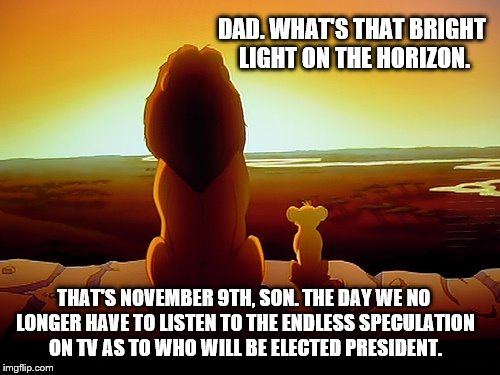 Lion King: Looking to see the light at the end of the road... | DAD. WHAT'S THAT BRIGHT LIGHT ON THE HORIZON. THAT'S NOVEMBER 9TH, SON. THE DAY WE NO LONGER HAVE TO LISTEN TO THE ENDLESS SPECULATION ON TV | image tagged in memes,lion king,election 2016,presidential race,tv show,light | made w/ Imgflip meme maker