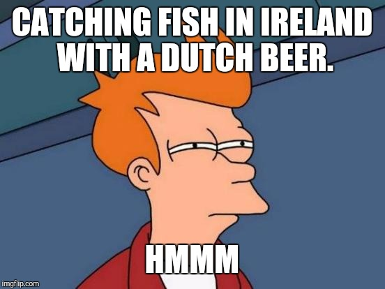Futurama Fry Meme | CATCHING FISH IN IRELAND WITH A DUTCH BEER. HMMM | image tagged in memes,futurama fry | made w/ Imgflip meme maker