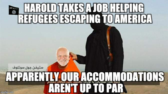 isis member with harold | HAROLD TAKES A JOB HELPING REFUGEES ESCAPING TO AMERICA APPARENTLY OUR ACCOMMODATIONS AREN'T UP TO PAR | image tagged in isis member with harold | made w/ Imgflip meme maker